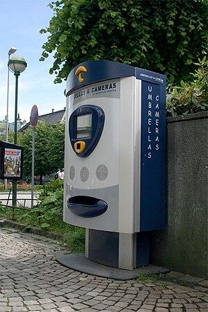 Umbrella vending machine in Bergen