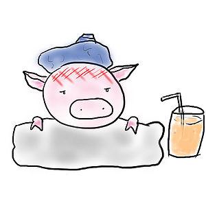 A sick cartoon Pig Complete with orange juice ...