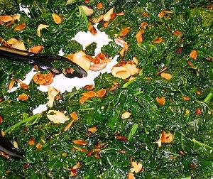 Steamed kale and slivered almonds