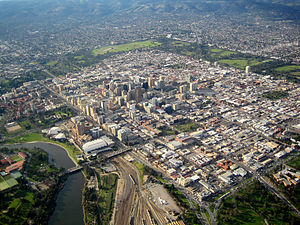 Aerial view of the Adelaide city centre lookin...