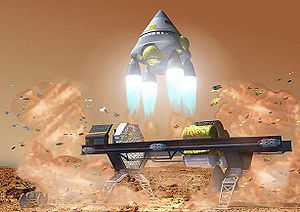 English: Manned mission to Mars : Ascent stage...