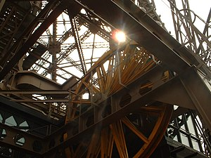 English: An elevator pulley in the Eiffel Tower.
