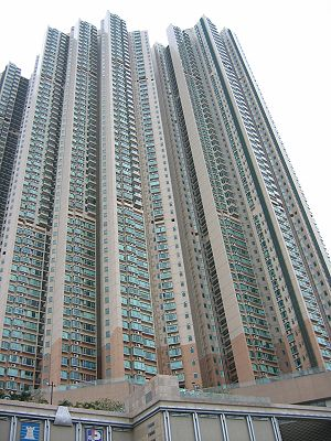 A high-rise residential apartment building in ...
