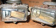 "Holley ""Visi-Flo"" model #1904 carburetors from the 1950s, factory equipped with transparent glass bowls."