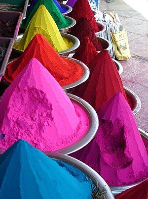 English: Indian natural dyes or Kumkum powder ...
