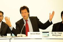 "Imran Khan at the conference ""Rule of Law: The Case of Pakistan"" organized by the Heinrich Böll Foundation in Berlin."