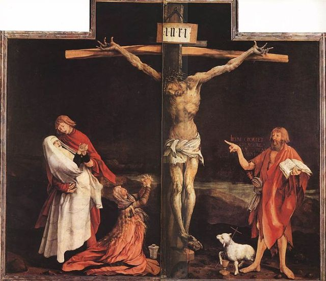 depiction of the crucifixion, the crisis point of Christian theology