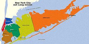 Karta över Long Island och NYC,