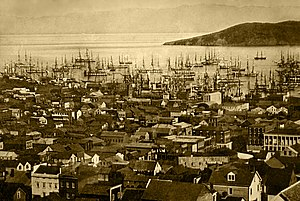 San Francisco harbor (Yerba Buena Cove), 1850 ...