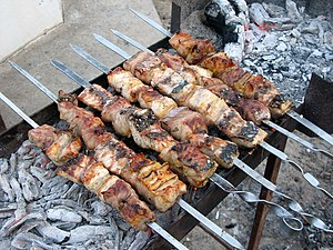 Sturgeon kebabs being cooked in Turkmenistan