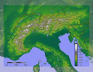 Digital relief of the Alps; France, Italy, Swi...