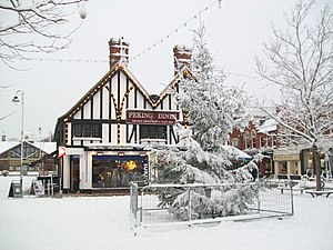 English: Biggleswade's Christmas Tree covered ...