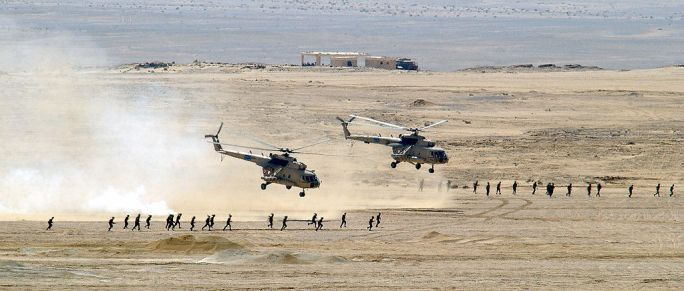 Egyptian Mi-8 Hip helicopters after unloading troops