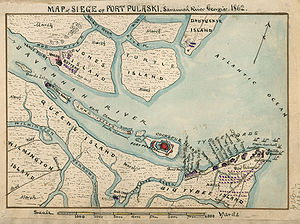 Map of siege of Fort Pulaski : Savannah River ...