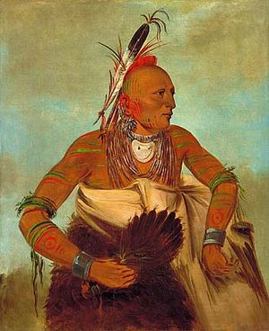Osage warrior painted by George Catlin