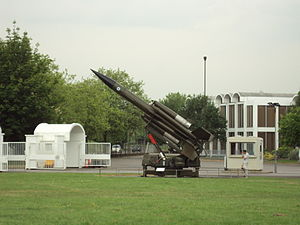 Missile launcher in the grounds of the RAF Mus...