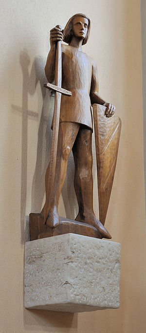 English: Schopfheim: Catholic Church, statue o...