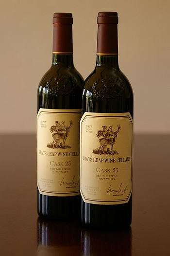 Bottles of the California wine Stag's Leap Win...