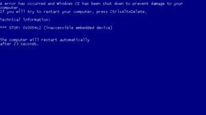 A screenshot of a Windows CE 5.0 stop message,...