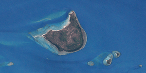 English: Wednesday Island (center) and Tuesday...