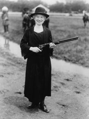 Annie Oakley, with a gun Buffalo Bill gave her