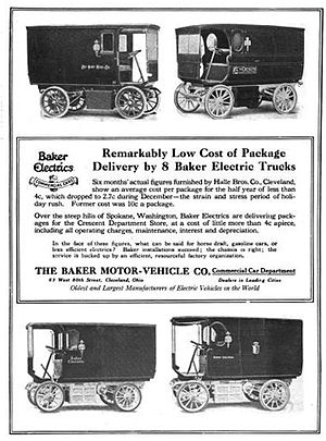 English: Advertisement 1912 - Baker Electric M...