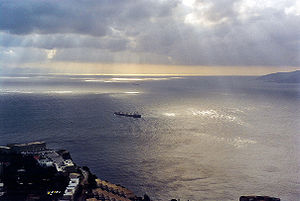 View of the Strait of Gibraltar opening into t...