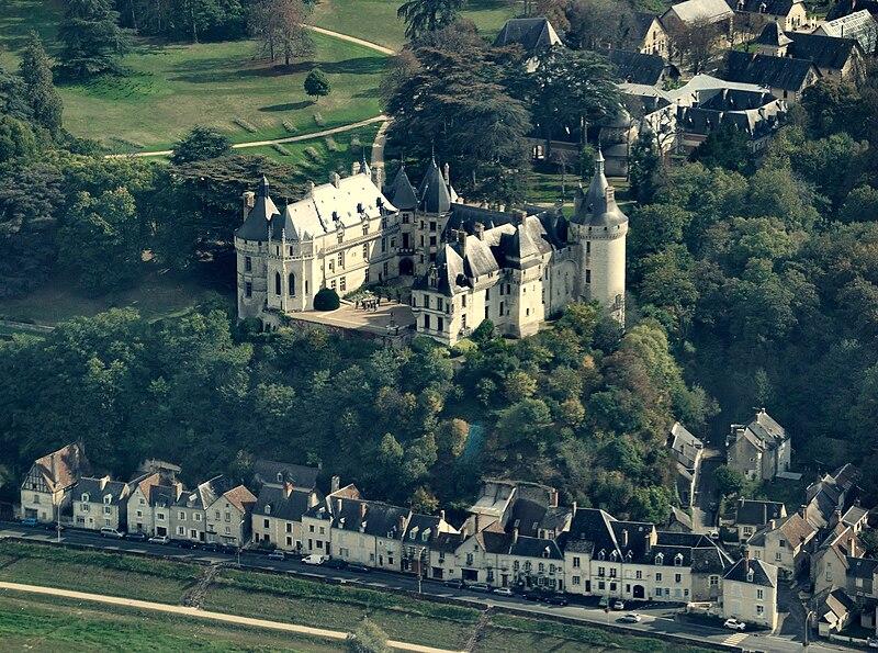 Chaumont-sur-Loire castle, aerial view