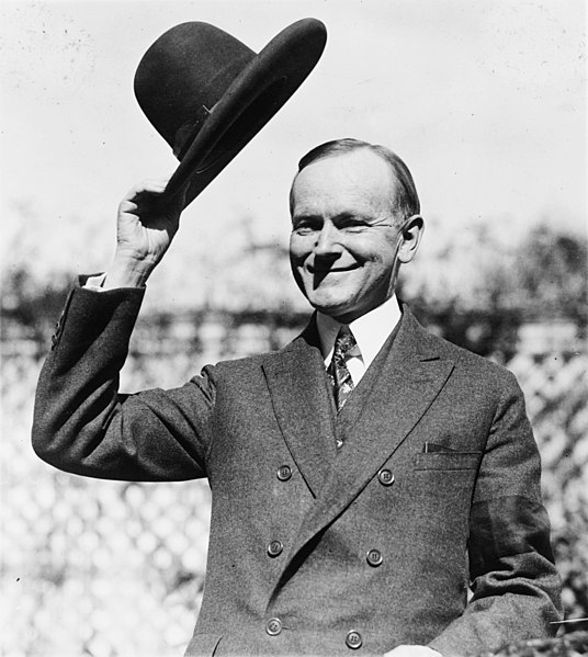 File:Coolidge after signing indian treaty.jpg