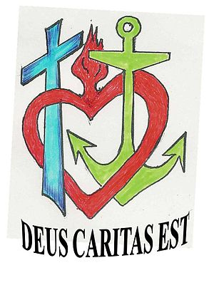 English: Cross, anchor, and heart for Faith, H...