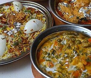 Hyderabadi Biryani, an Indian meat and rice dish.