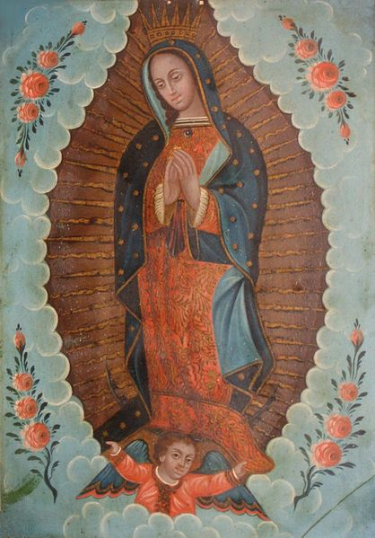 File:Mexican oil paint on tin retablo of 'Our Lady of Guadalupe', 19th century, El Paso Museum of Art.JPG