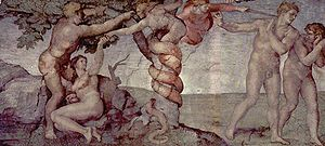 Michelangelo's painting of the sin of Adam and...