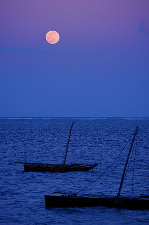 Moonlight view from Mombasa, Kenya