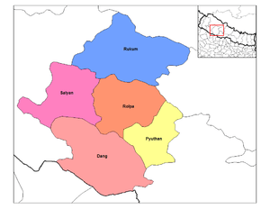 Map of the districts of Rapti Zone (wp-EN) in ...