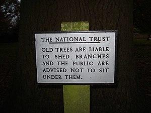 English: Sign at Brockhampton Park A sad refle...