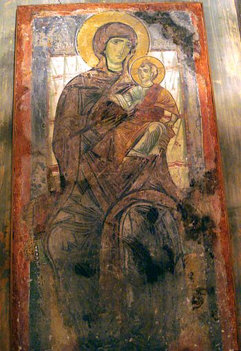 Madonna and Child. 12th century byzantine fres...