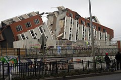Collapsed building in Concepción