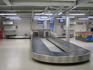 baggage reclaim at hahn airport in germany