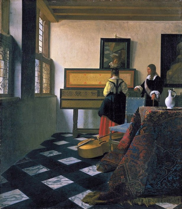 """""""Lady at the Virginal with a Gentleman"""", 'The Music Lesson' by Johannes Vermeer"""