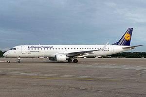 E195 of Lufthansa CityLine at Cologne Bonn Air...