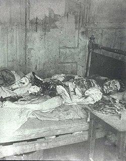 Fotografia da pol�cia da cena do crime de Mary Jane Kelly.