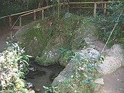 Nascente do rio Tietê em Salesópolis. A água brota sob as pedras