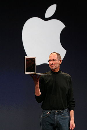 Steve Jobs holding a MacBook Air (at MacWorld ...
