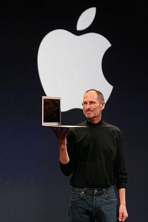 Steve Jobs holding a MacBook Air (at MacWorld ...