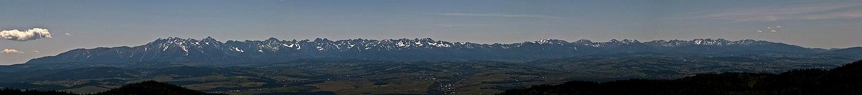 Panorama Tatr z Hali Długiej w Gorcach