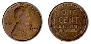 English: 900 DPI scan of a 1937 Wheat cent (&q...