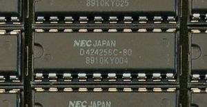 A 256Kx4 Dynamic RAM chip on an early PC memor...