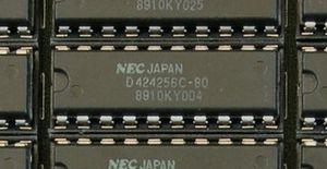 A 256Kx4 Dynamic RAM chip on an early PC memor...