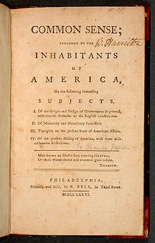 Thomas Paine's pamphlet Common Sense, published in 1776